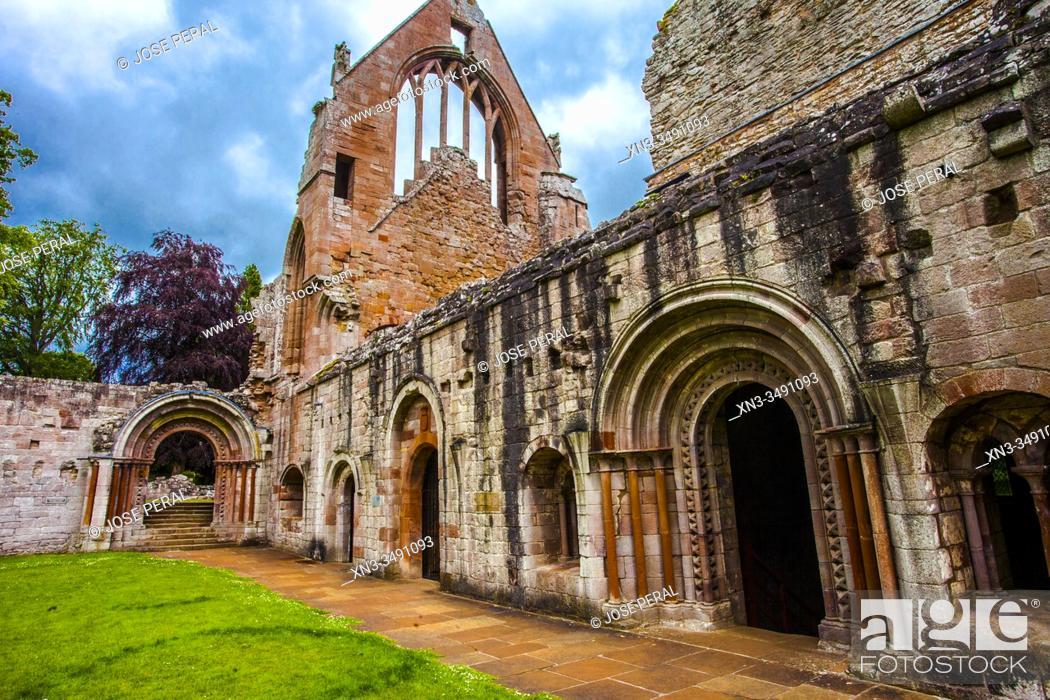 Stock Photo: Dryburgh Abbey, Scottish Borders District, Scotland, United Kingdom, Europe.