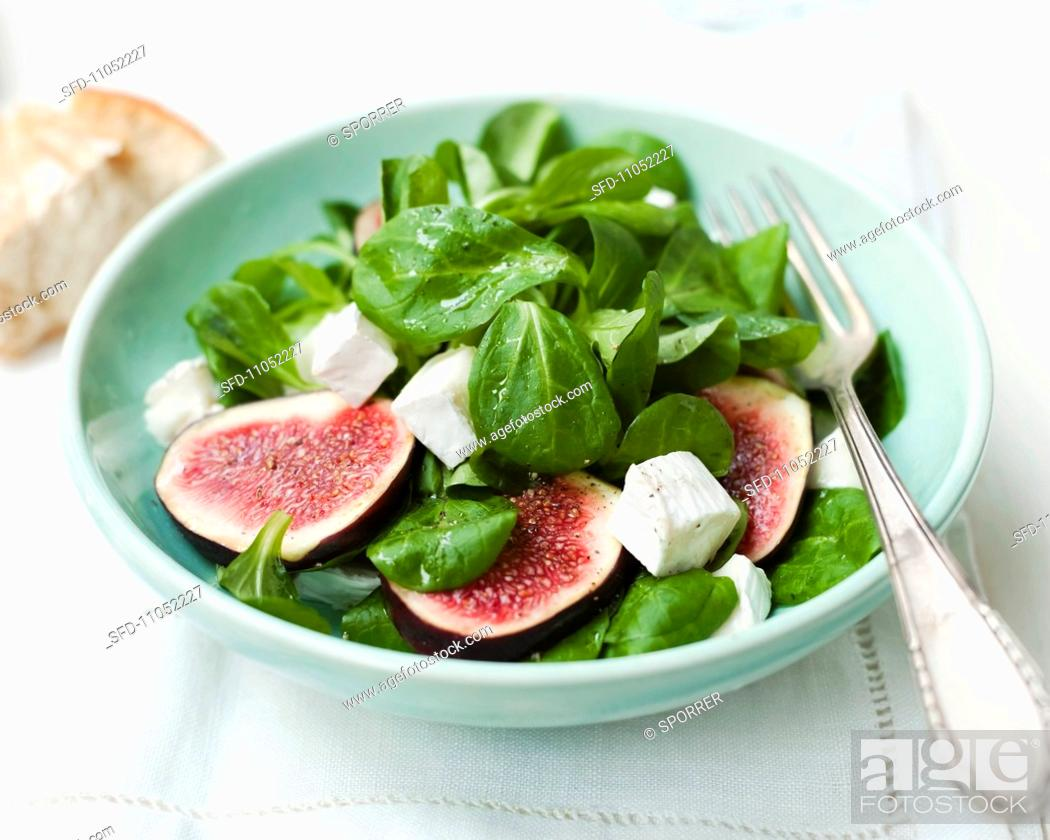 Stock Photo: Lamb's lettuce salad with figs and sheep's cheese.