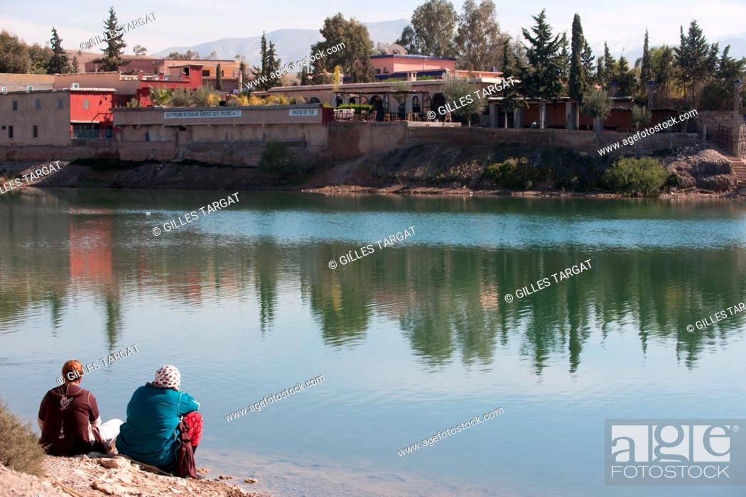 Stock Photo: North Africa, Morocco, Marrakech, at the bottom of the High Atlas, road to Amizmiz, lake of Takerkoust, Photo Gilles Targat.