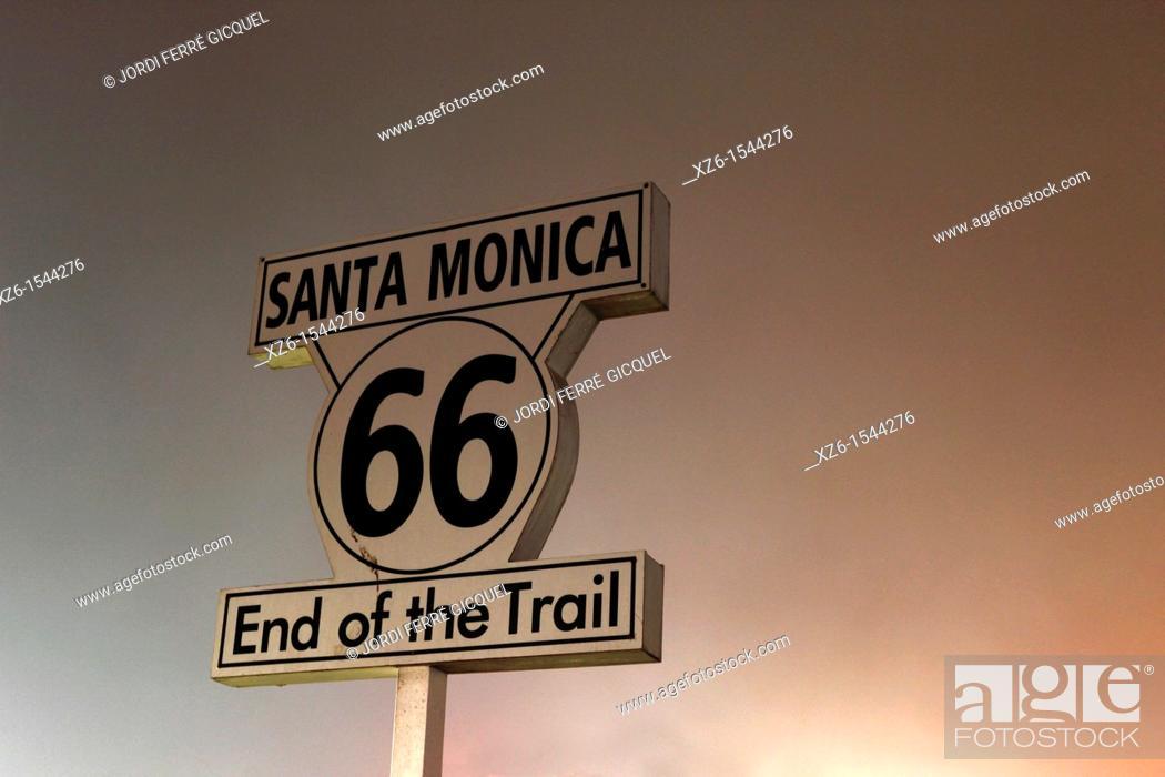 Stock Photo: End of route 66 at Santa Monica pier, Los Angeles, California, USA.