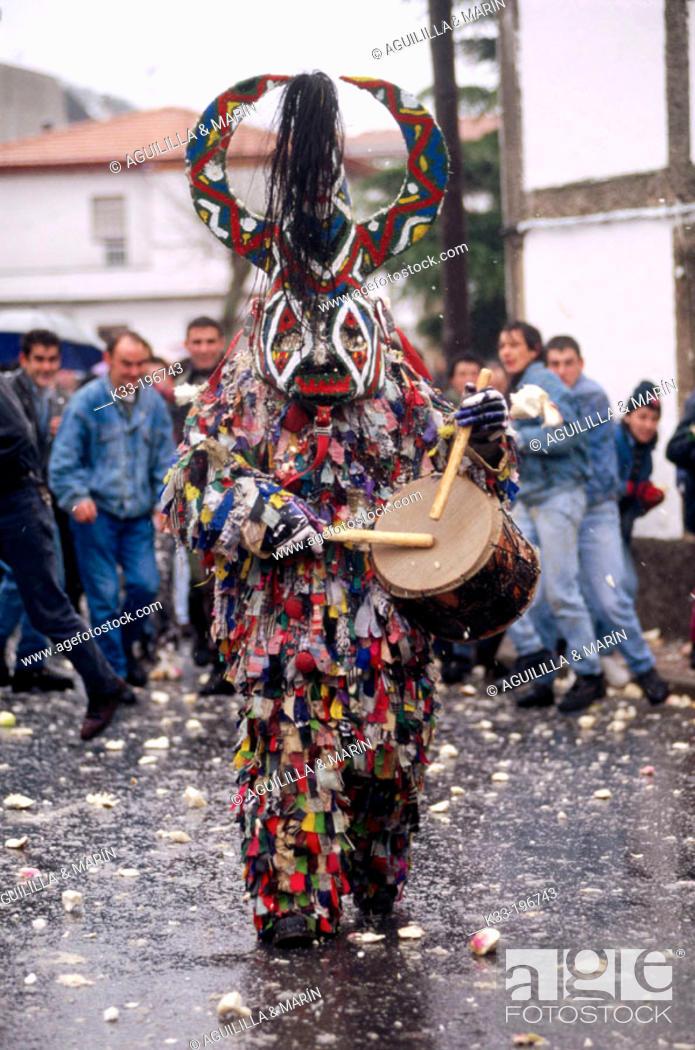 Stock Photo: 'Jarramplas', carnival. Piornal. Cáceres province. Spain.