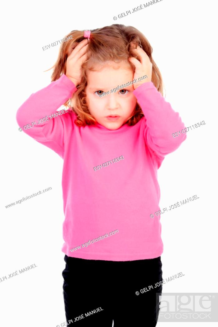 Stock Photo: Worried little girl in pink isolated on a white background.
