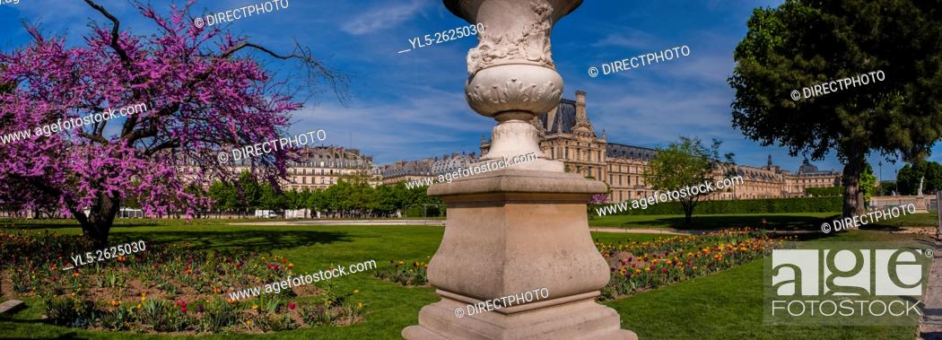 Stock Photo: Paris, France, Panoramic Scenic in Tuileries Garden, Jardin des Tuileries, With Louvre Museum, Spring.