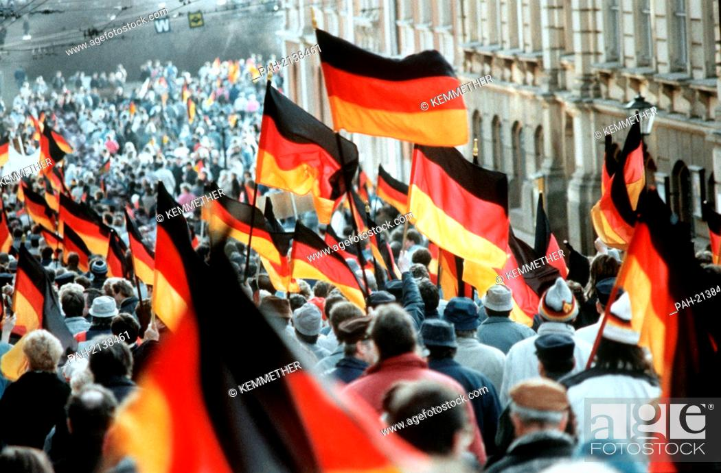 German flags captured during demonstrations for the German