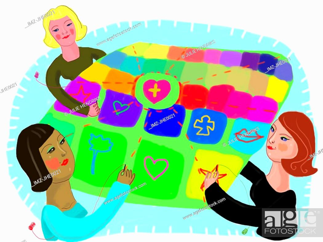Stock Photo: Three women putting together a colorful quilt.