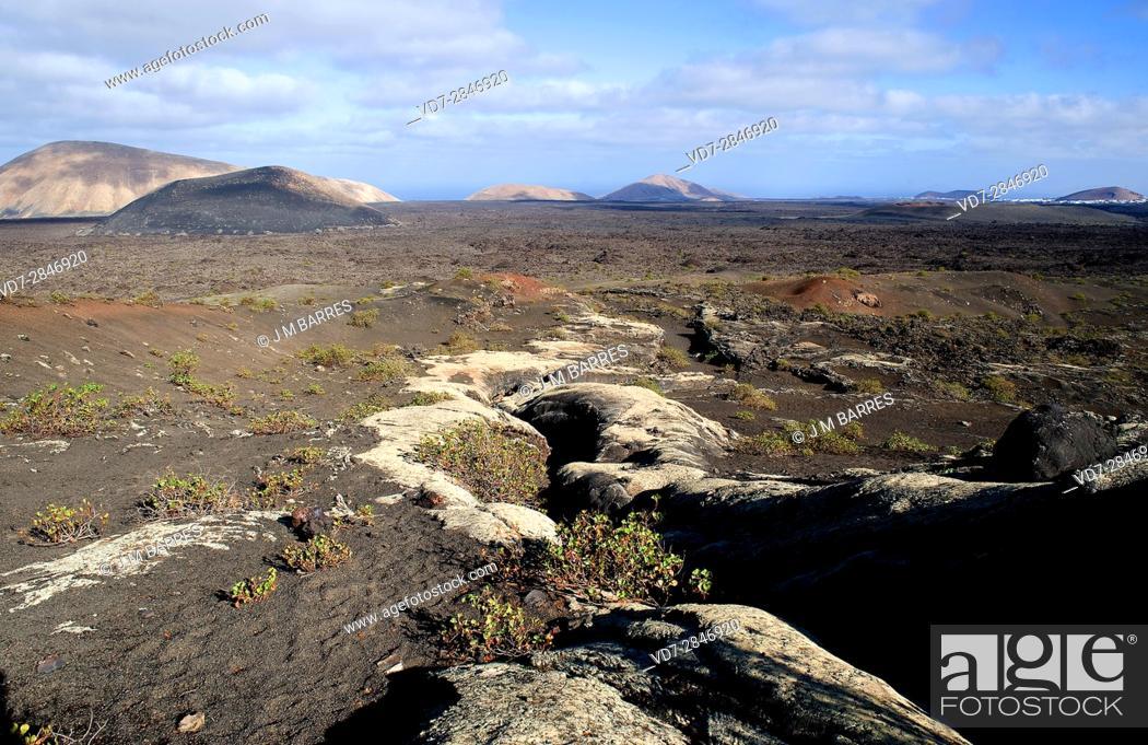 Stock Photo: Pico Partido volcano, volcanic tube. Los Volcanes Natural Park, Lanzarote Island, Las Palmas, Canary Islands, Spain.