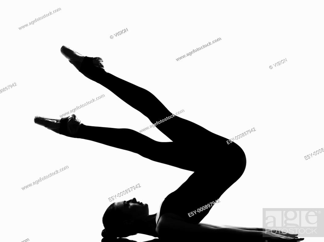 Stock Photo: beautiful caucasian tall woman ballet dancer halasana Shoulder Stand yoga pose full length on studio isolated white background.