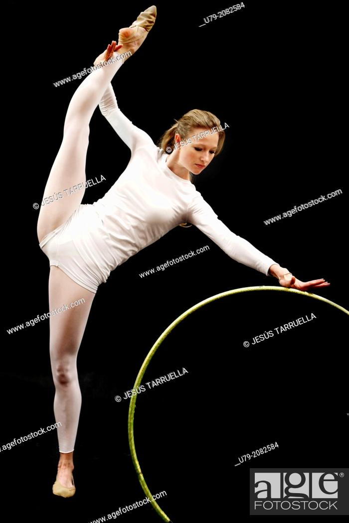 Stock Photo: Rhythmic gymnastics. Studio shot.