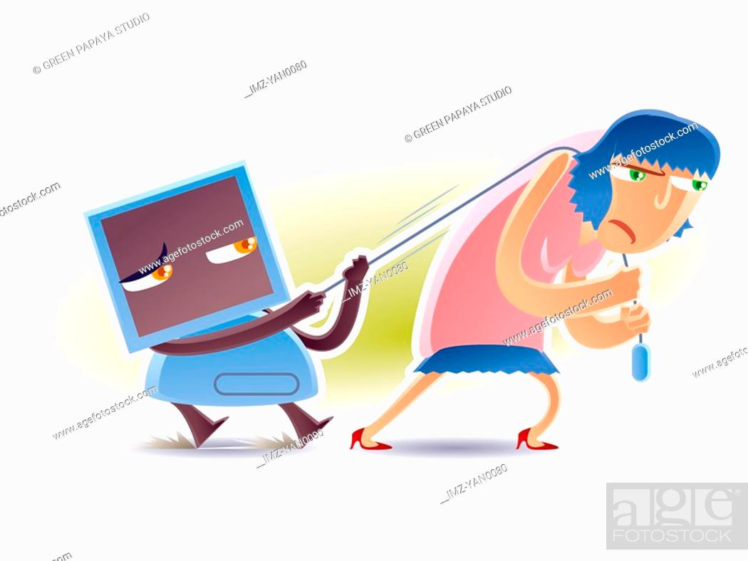 Stock Photo: A woman dragging a computer by the mouse.