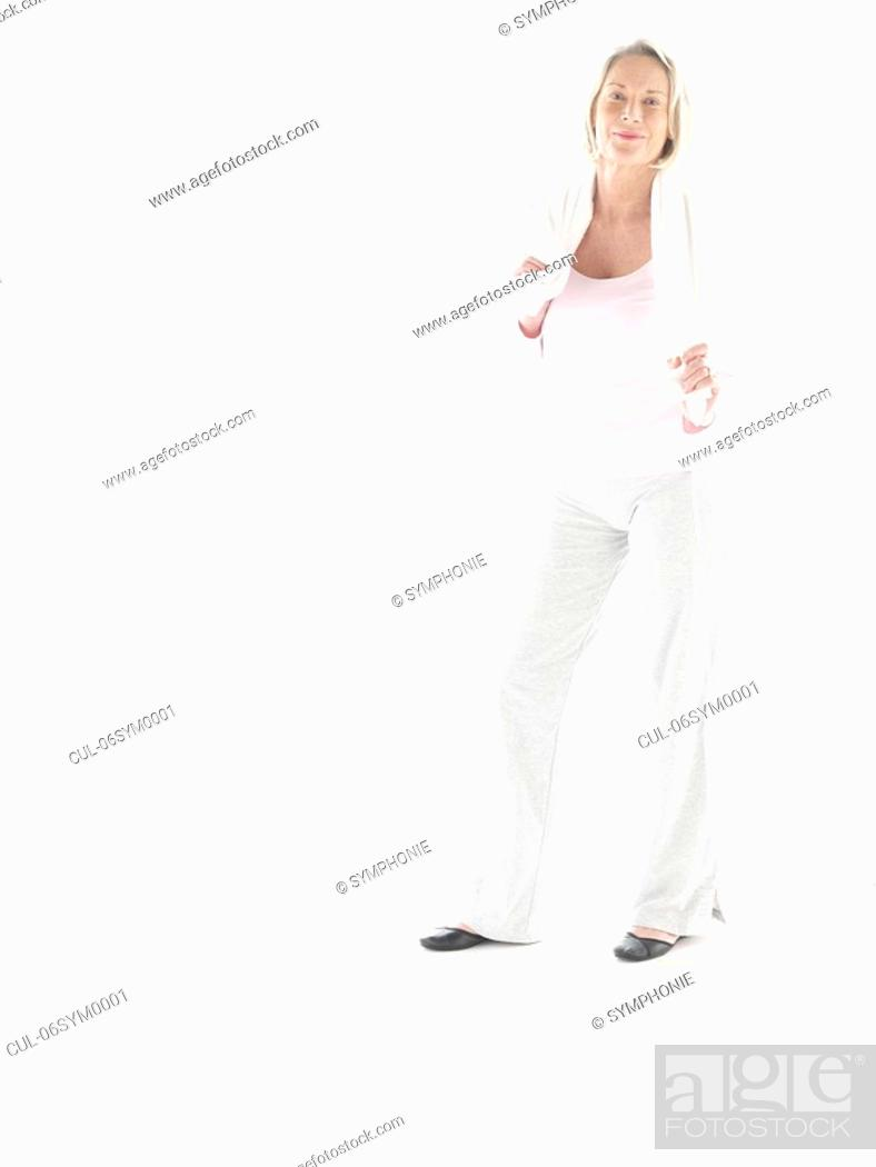 Stock Photo: Mature woman in fitness clothes.