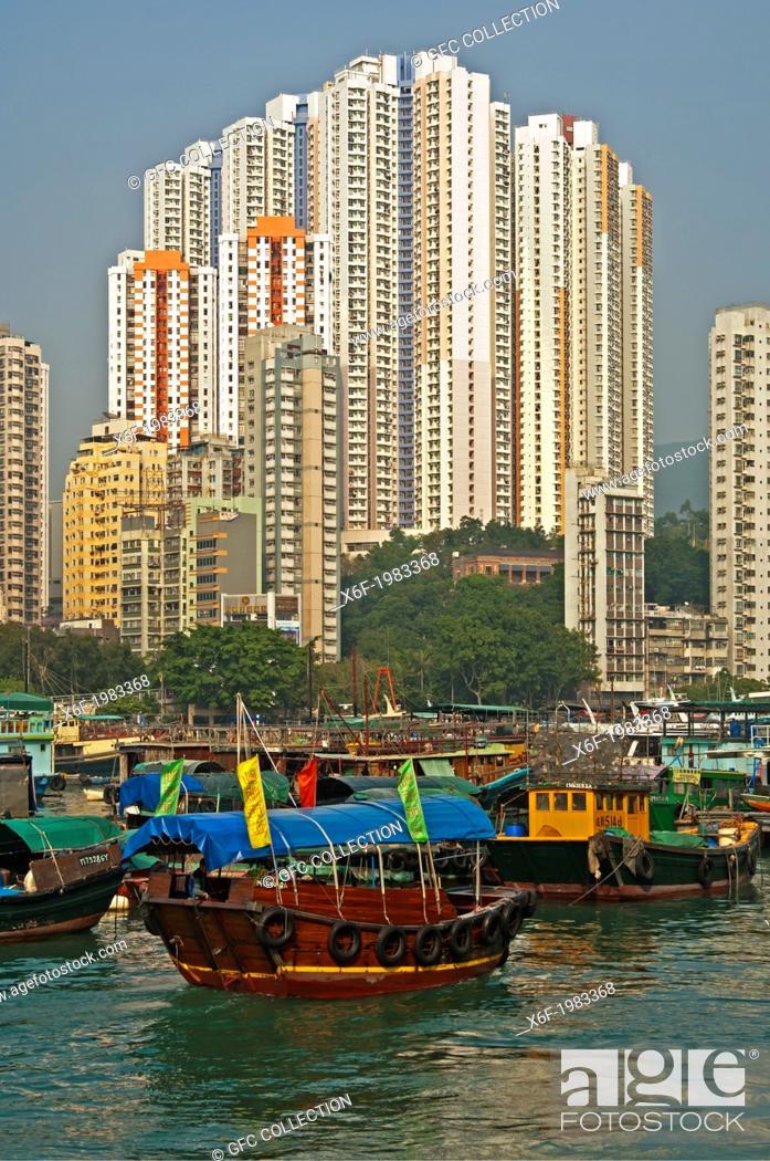Stock Photo: At the Aberdeen Harbour Sampan boat port, Aberdeen, Hong Kong.