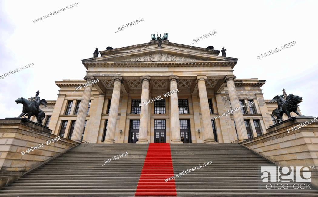 Stock Photo: Red carpet on the step leading up to the Konzerthaus, concert hall, building by Schinkel, Gendarmenmarkt square, Mitte quarter, Berlin, Germany, Europe.