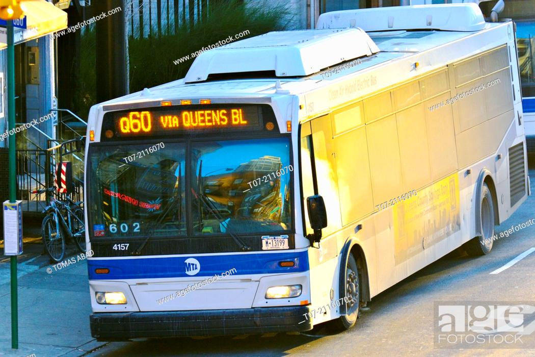 Mass Transit Mta Public Transportation Q60 Bus Stop Metropolitan