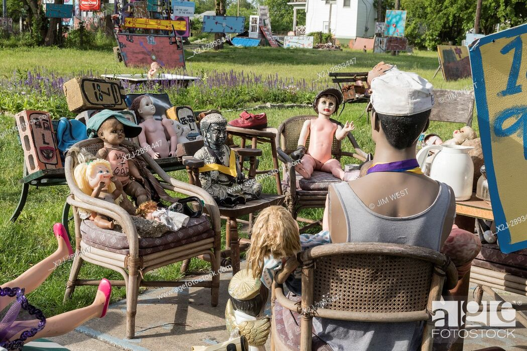 Stock Photo: Detroit Michigan -- The Heidelberg Project, an outdoor public art project in a depressed neighborhood created on and around abandoned houses by artist Tyree.