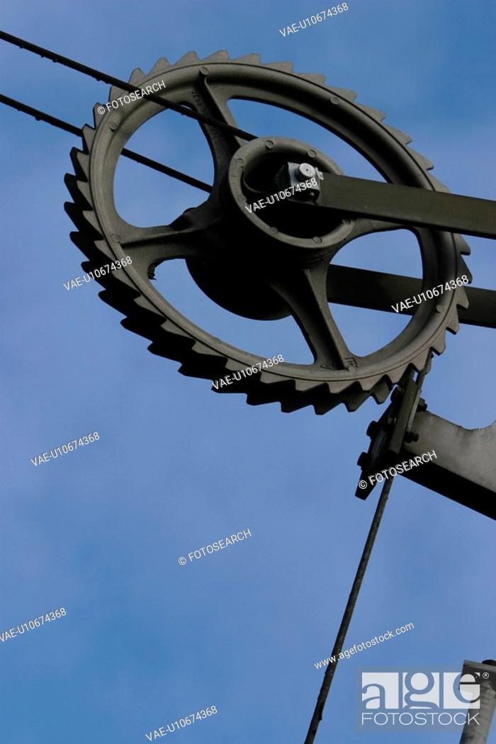 Stock Photo: wheel, pulley, close-up, metal, old, equipment.