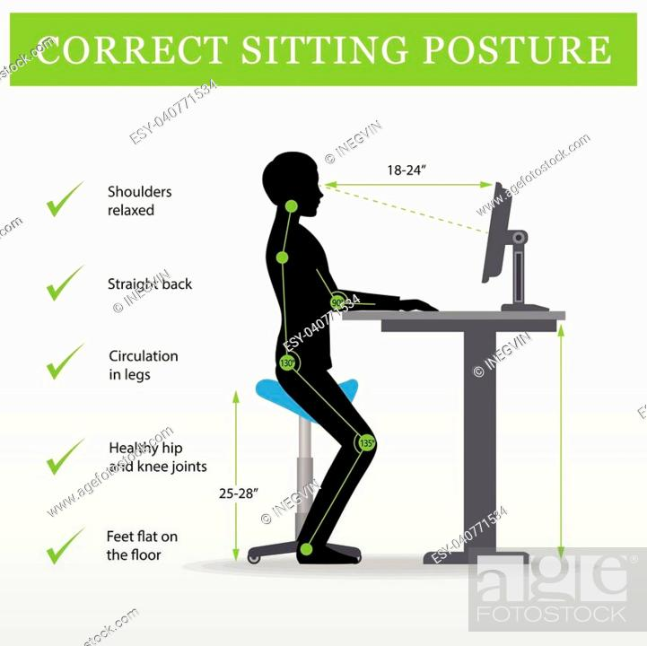 Vector: ergonomic. Saddle sitting chair and Height adjustable desk or table sitting and standing pose of a man. Healthy sitting pose.