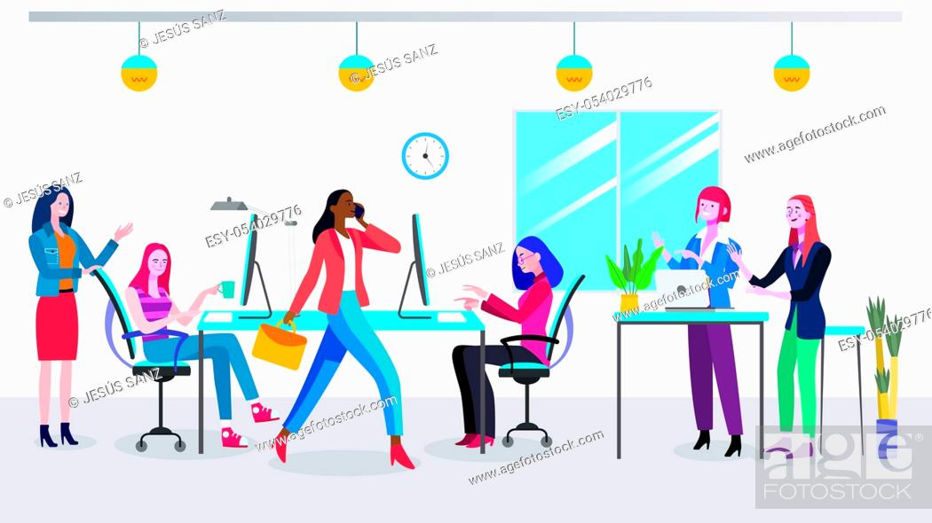 Stock Vector: Businesswomen planning new business strategy. Women working at a modern office. Coworking office space. Easy to edit and customize.