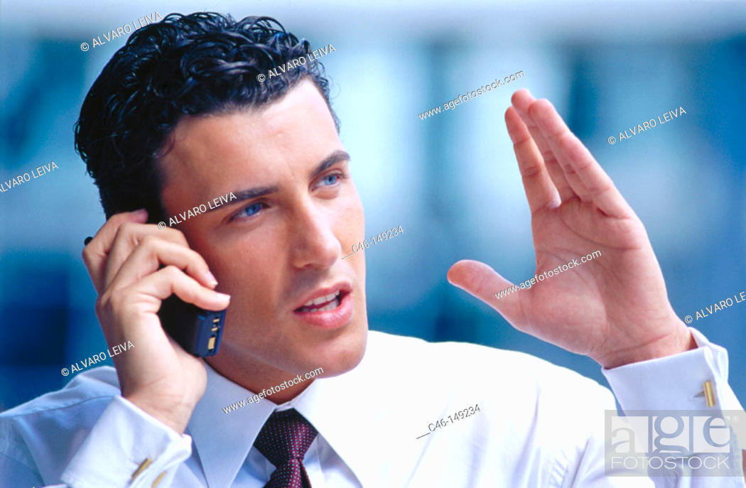Stock Photo: Executive on cell phone.