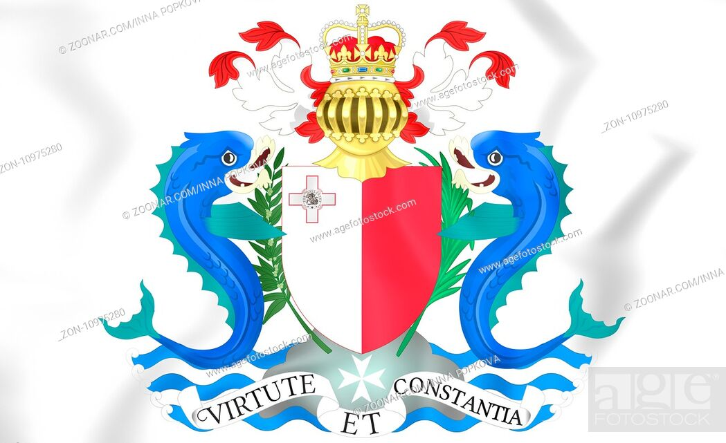 Stock Photo: Governor-General of Malta coat of arms. 3D Illustration.
