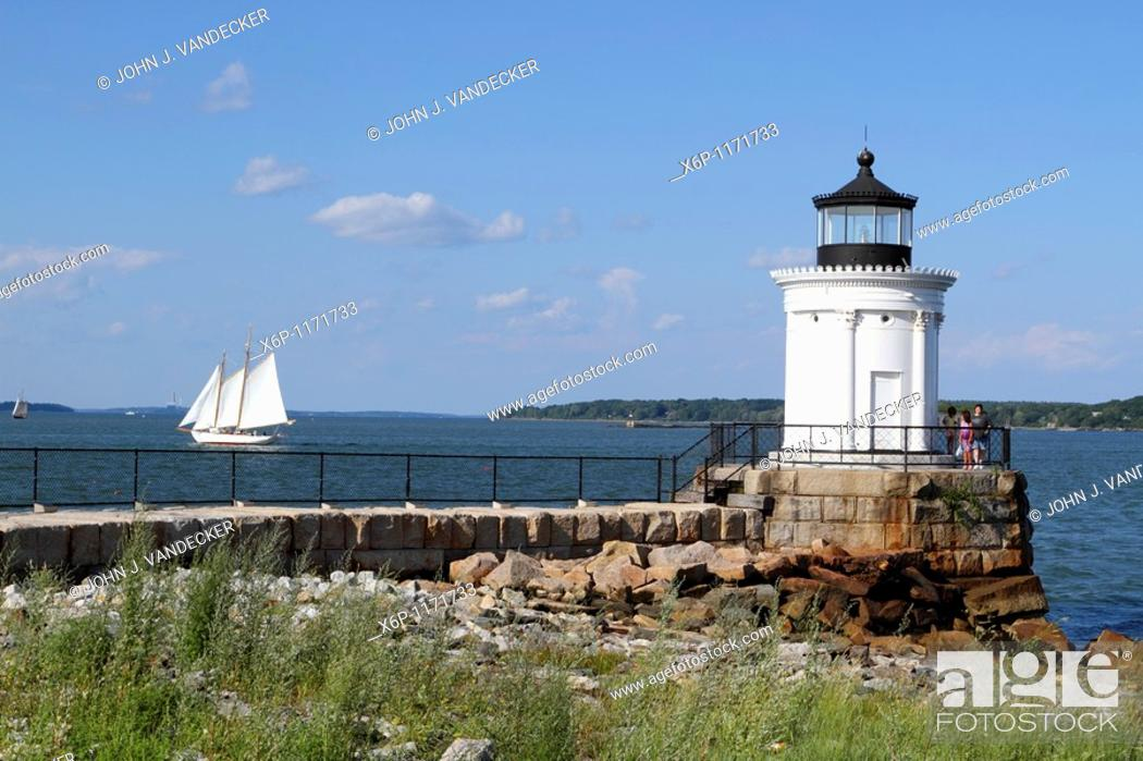 Stock Photo: Portland Breakwater Lighthouse also called Bug Light is in South Portland at the entrance to Portland's harbor from Casco Bay, Maine, USA.