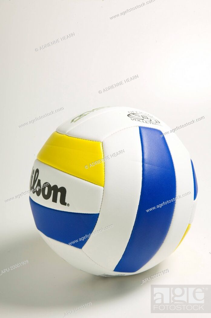 Stock Photo: White volleyball with blue and yellow stripes.