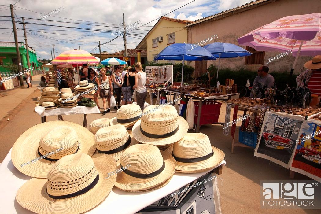 Stock Photo: Scene from the market place at town center, Vinales, Pinar del Rio Province, Cuba, West Indies, Central America.