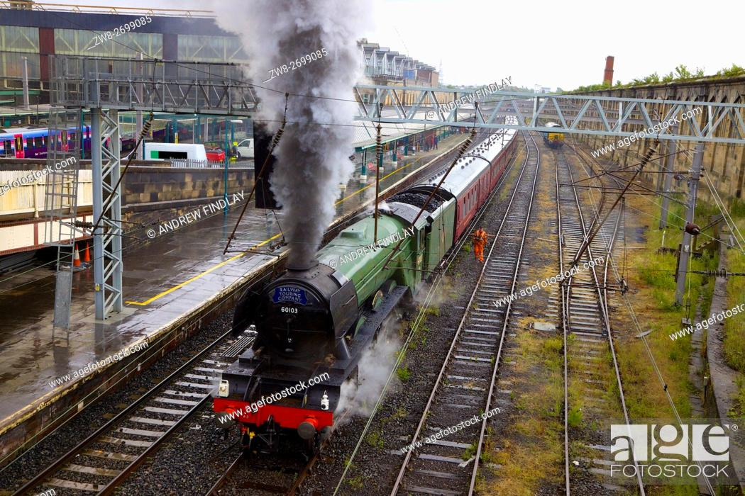 Stock Photo: Steam train LNER A3 Class 4-6-2 no 60103 Flying Scotsman. Carlisle Railway Station, Carlisle, Cumbria, England, United Kingdom, Europe.