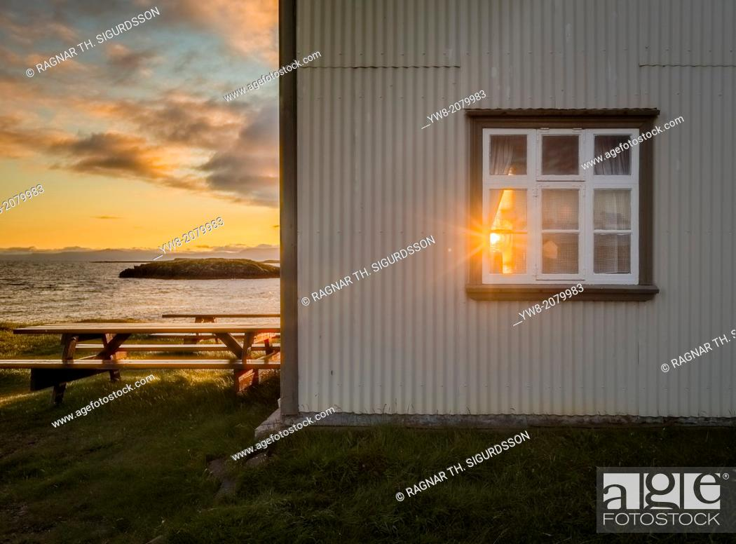 Stock Photo: Sunset, Flatey Island, Borgarfjordur, Iceland.