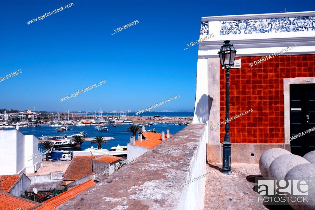Stock Photo: view for Bensafrim river and in far background Meia Praia beach from the old town of Lagos, Algarve, Portugal, Europe.