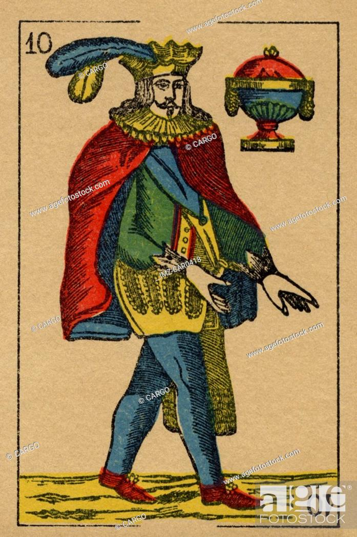 Stock Photo: Vintage playing card showing a prince with feathered hat and an urn.