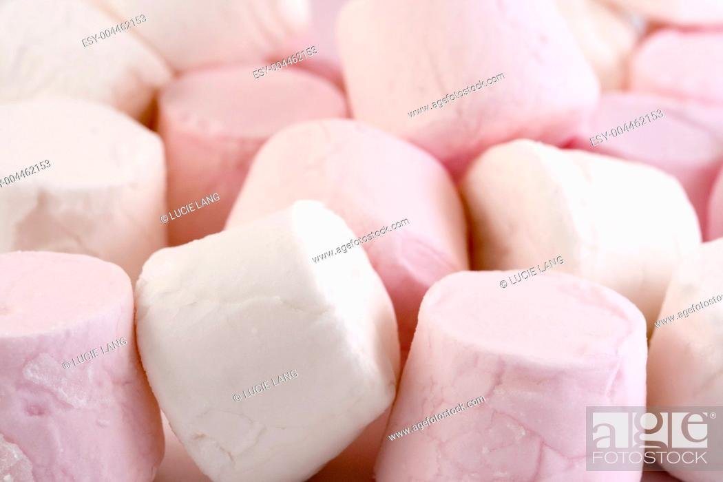 Stock Photo: pink and white marshmallows.