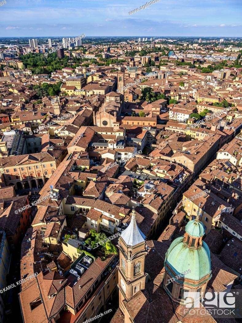 Stock Photo: View from the Asinelli Tower, Bologna, Emilia-Romagna, Italy.