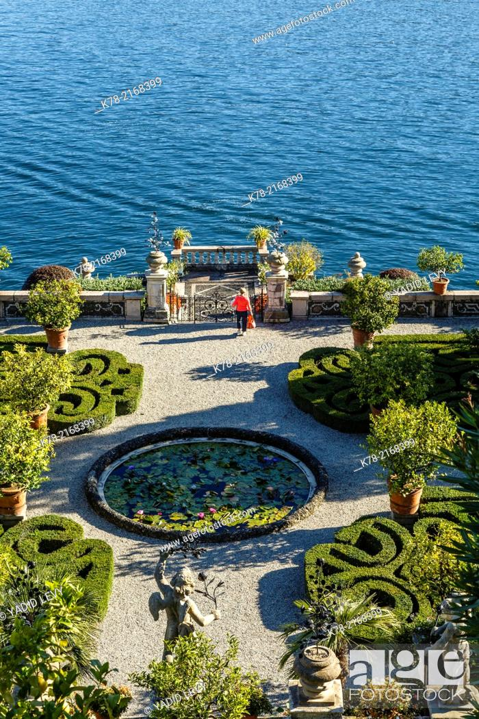 Stock Photo: The Borromeo's Palace and gardens on Isola Bella, Borromean Islands, Lake Maggiore, Piedmont, Italy.