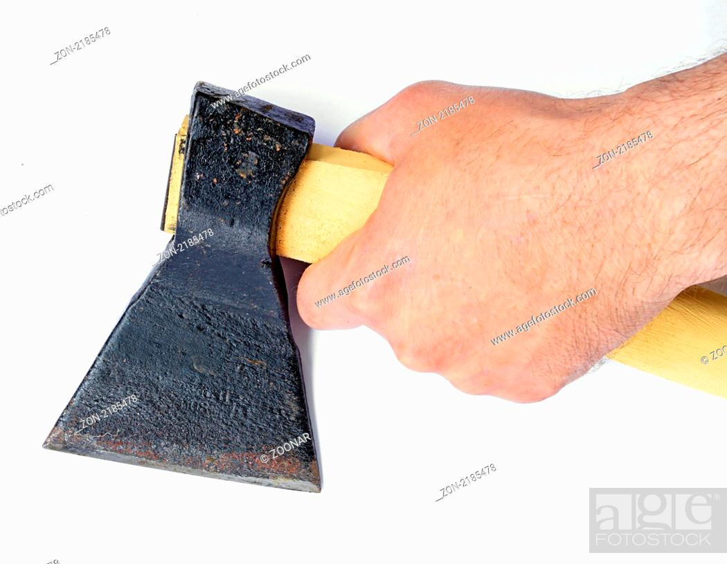 Stock Photo: axe in hand on white background.