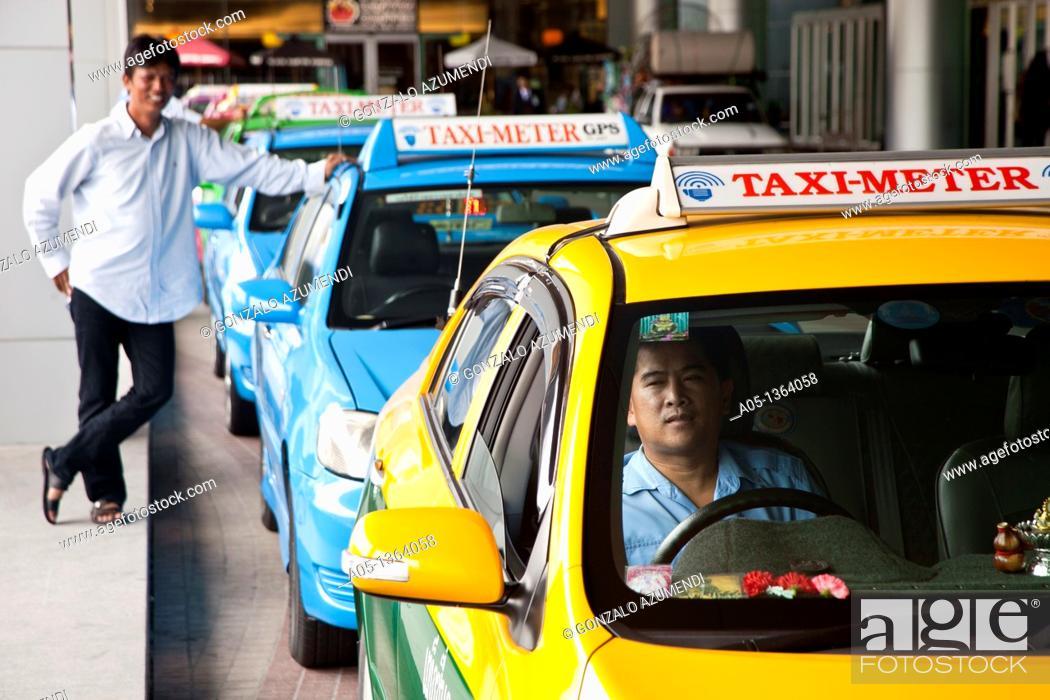 Stock Photo: Traffic in Bangkok, Taxi, Thailand, Southeast Asia.
