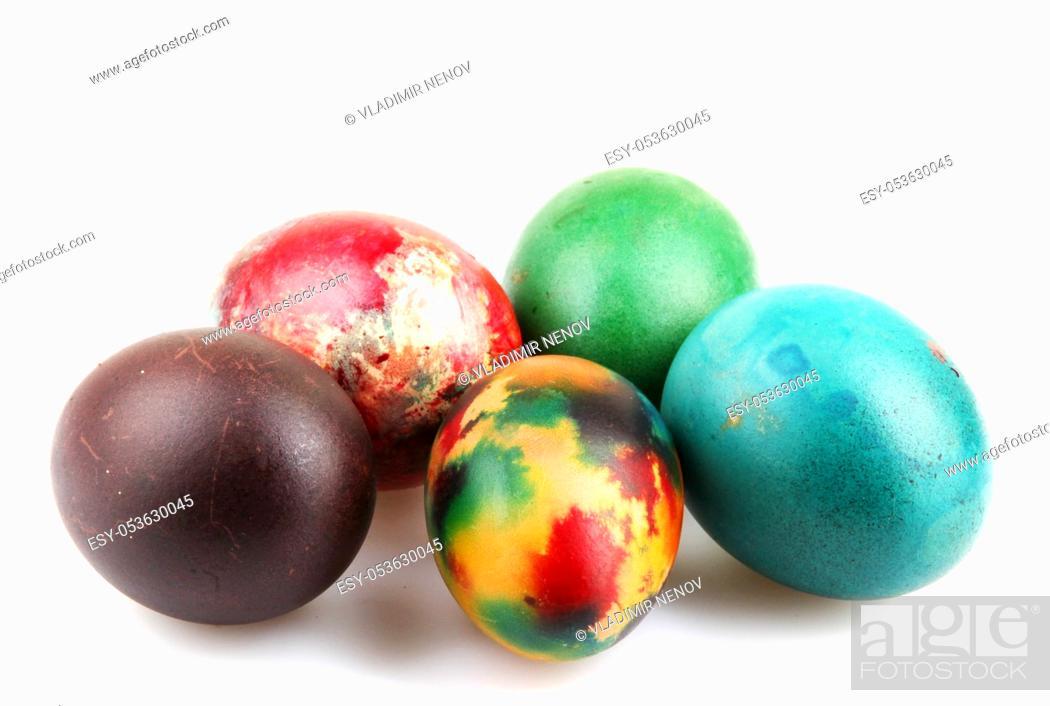 Stock Photo: Easter eggs on white background.