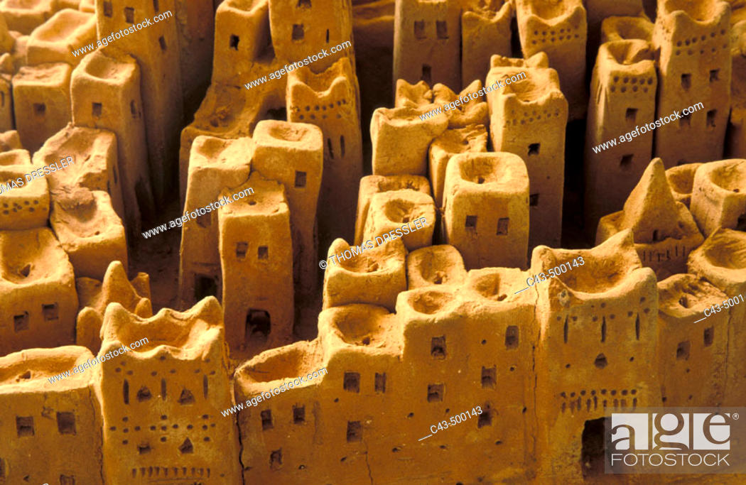 Stock Photo: A miniature model of the ksar (fortified village) Tinerhir, displayed in the exhibition room of the Hôtel Tombouctou in Tinerhir.