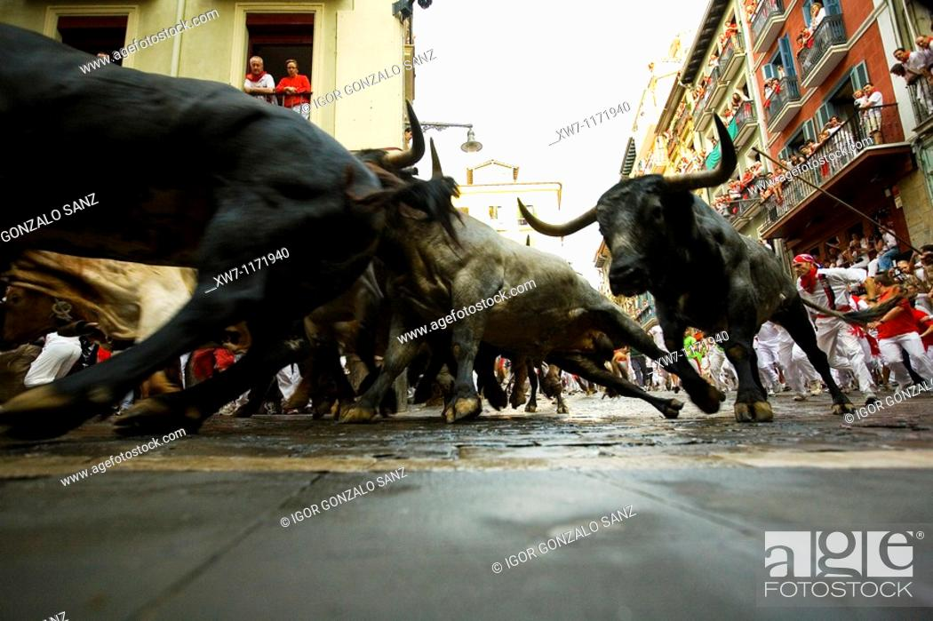 Stock Photo: Encierro, the running of the bulls, Fiesta de San Fermin, Festival of San Fermin, Pamplona, Province of Navarre, Spainen San Fermin, Pamplona Navarra, España.