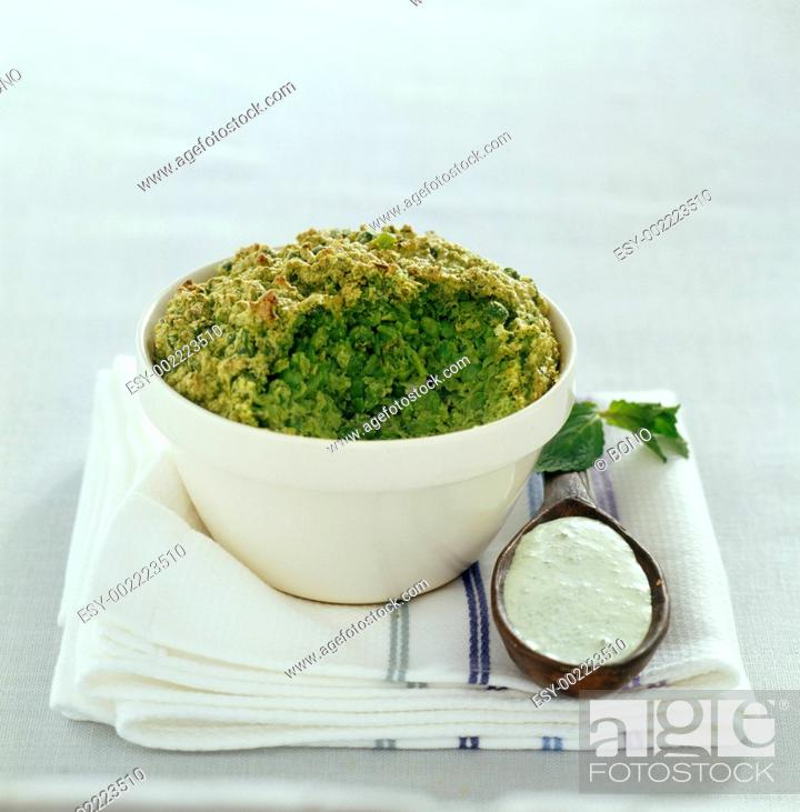 Stock Photo: Pureed peas with fresh mint sauce.