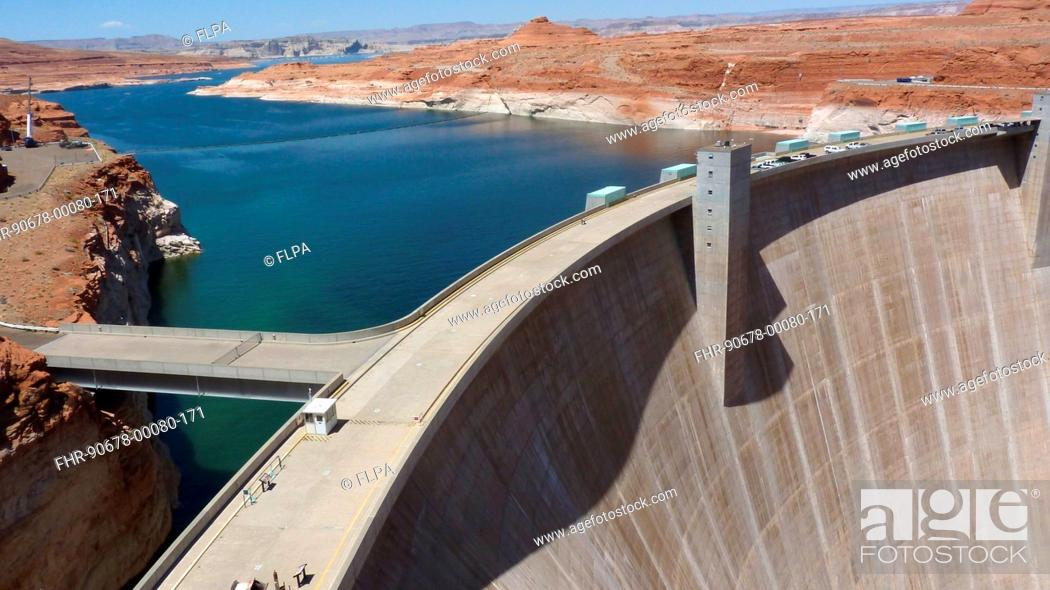 Stock Photo: Hydroelectricity and river flow regulation dam with reservoir, Glen Canyon Dam, Lake Powell, Colorado River, Arizona, U S A , may.