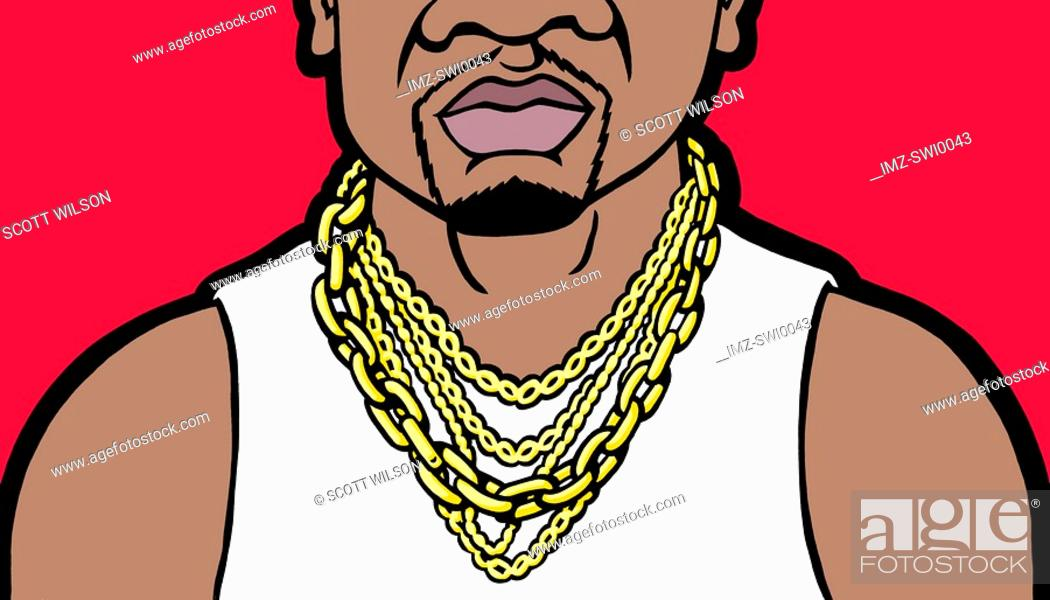 Stock Photo: An illustration of a close-up of a mans large chunky gold jewellery.