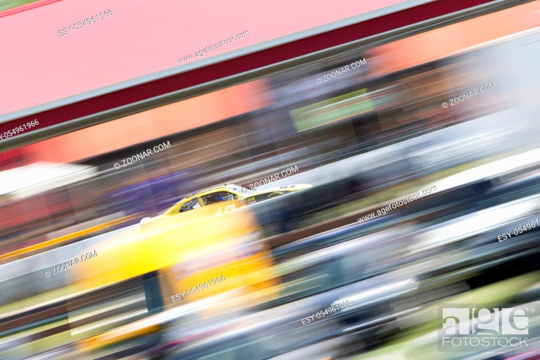 Stock Photo: August 11, 2018 - Lexington, Ohio, USA: Justin Marks (42) races off the turn during the Rock N Roll Tequila 170 at Mid-Ohio Sports Car Course in Lexington, Ohio.