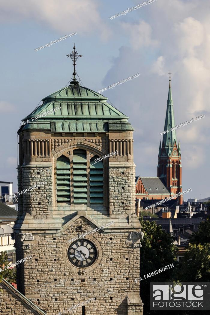 Imagen: Stockholm, Sweden St Stephen's Church or. Stefanskyrkan and the Johannes Church in background.