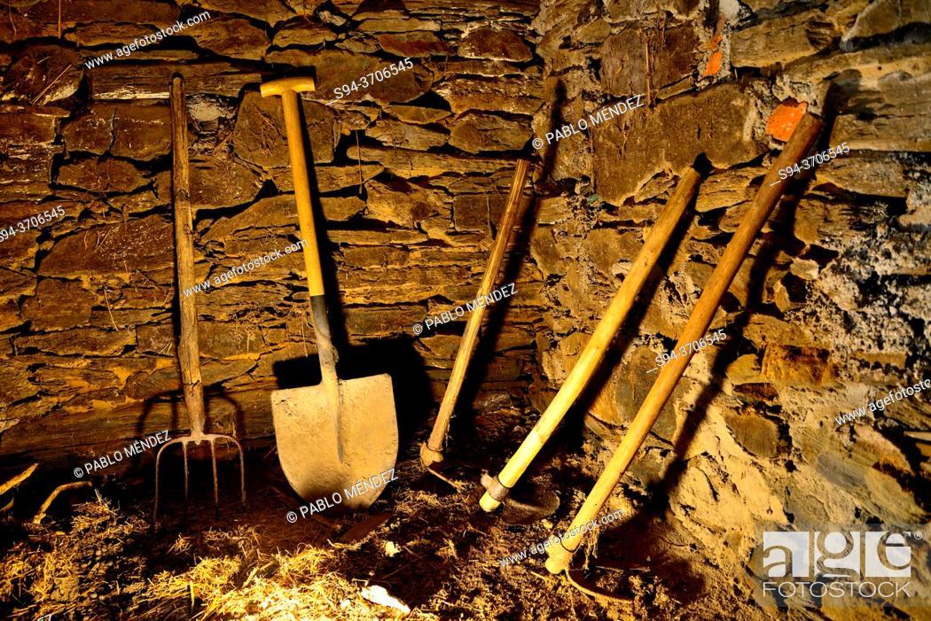 Stock Photo: Tools in a barn of Valencia de Sil, Vilamartin de Valdeorras, Orense, Spain.