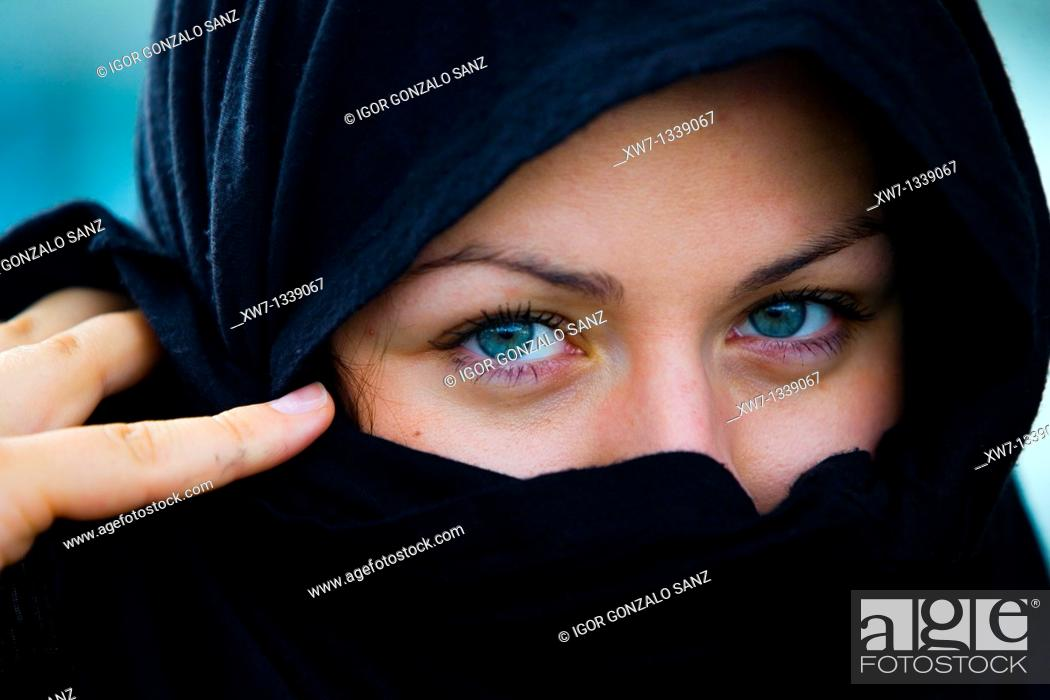 Stock Photo: Girl with arabic clothes. Blue eyes.