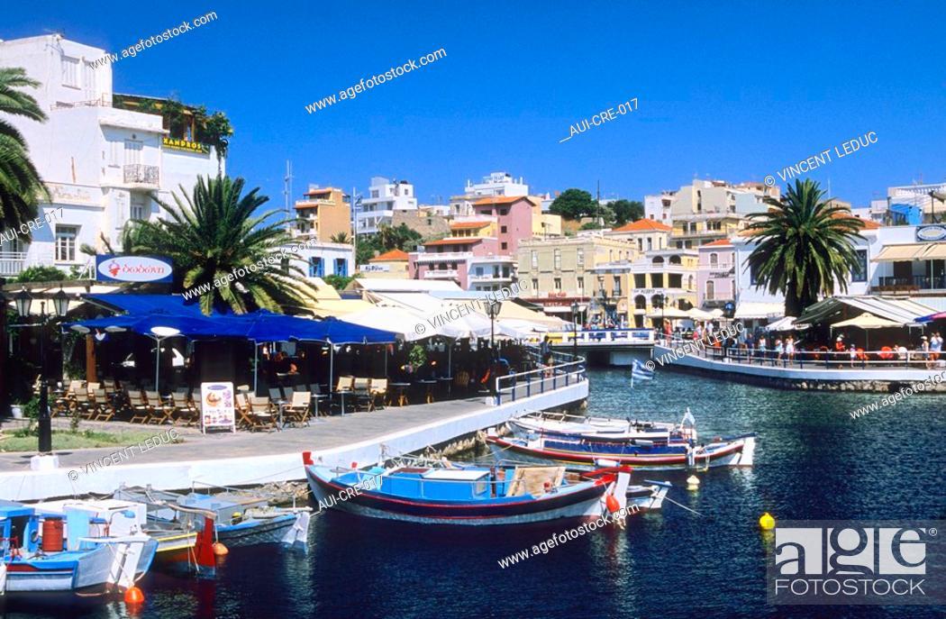 Stock Photo: Greece - Crete - Agios Nikolaos - Docks on the Lake.