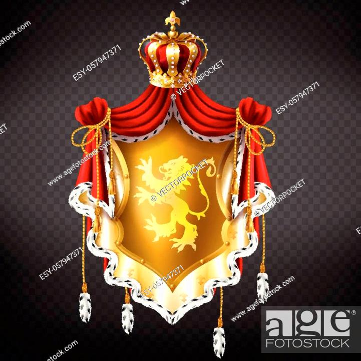 Stock Vector: Vector realistic golden royal coat of arms with crown, shield with lion, red mantle with fur fringe isolated on background.