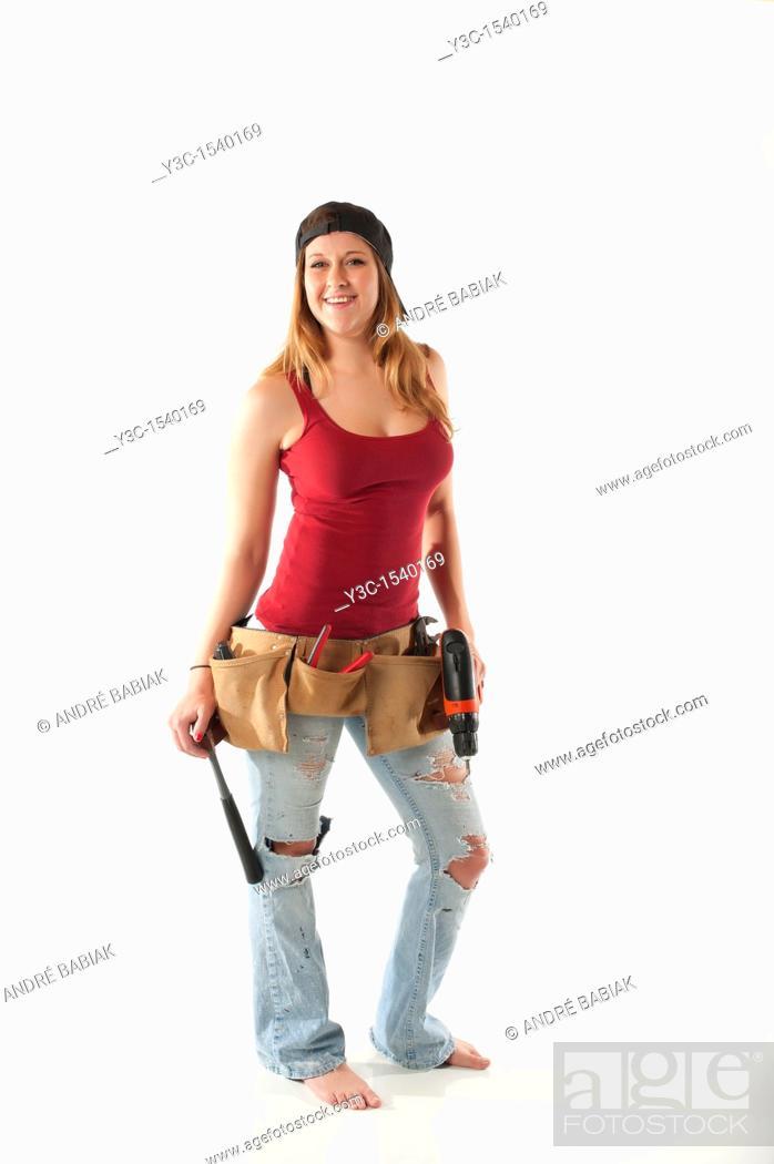 Stock Photo: Female Handyman.