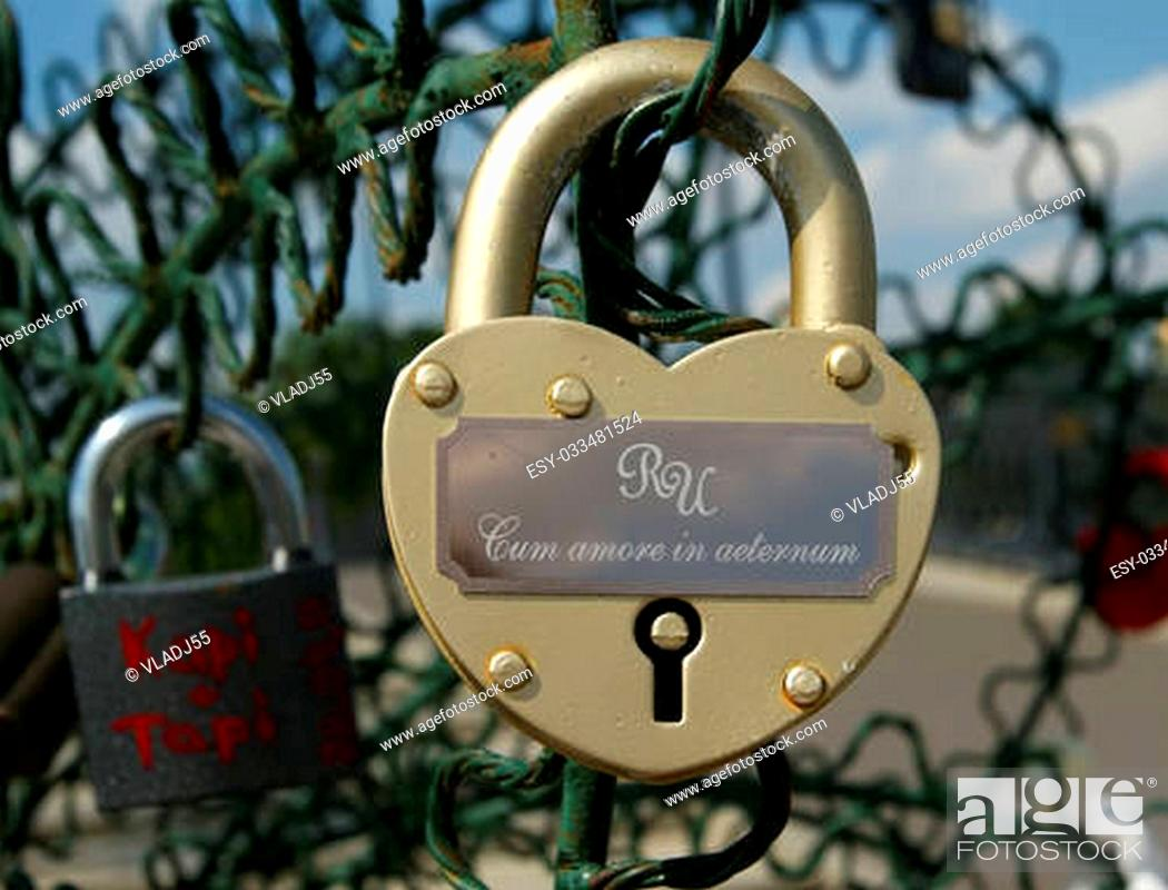 Photo de stock: padlocks in the shape of a heart - a symbol of eternal love and union.