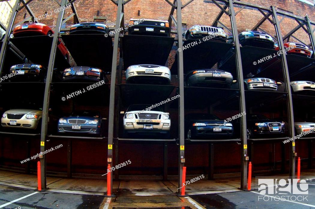 Stock Photo: USA, New York City, parking garage.